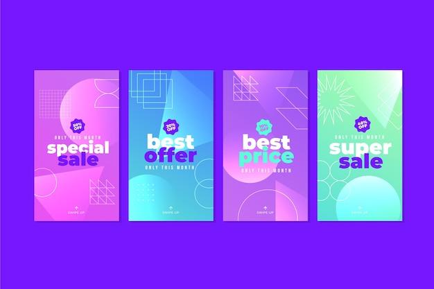 Colección de historias de instagram de venta de gradiente moderno