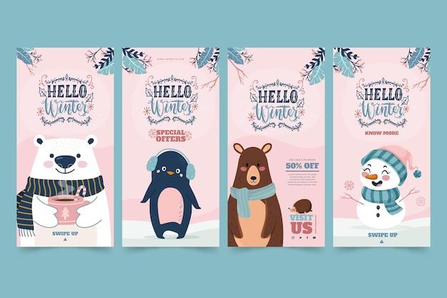 Colección de historias de instagram para la venta de invierno con animales y muñeco de nieve
