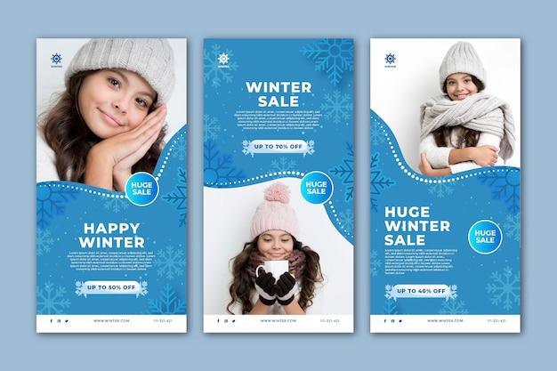 Colección de historias de instagram para la venta de invierno