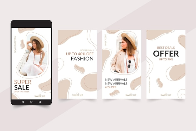 Colección de historias de instagram para venta de moda