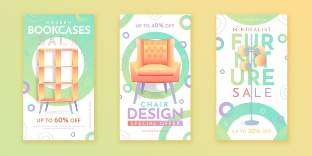Colección de historias de instagram de venta de muebles degradados