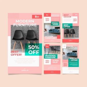 Colección de historias de instagram de venta de muebles planos orgánicos
