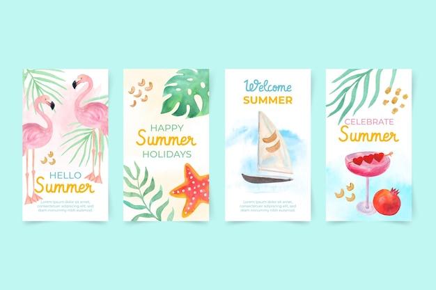Colección de historias de instagram de verano en acuarela pintada a mano