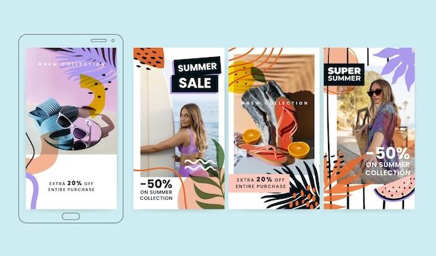 Colección de historias de instagram de verano dibujadas a mano con foto