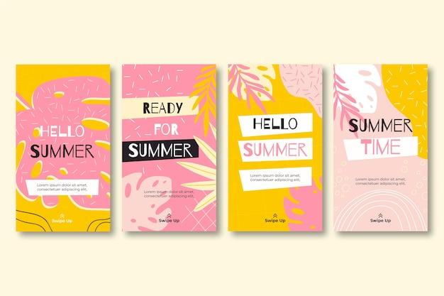 Colección de historias de instagram de verano dibujadas a mano