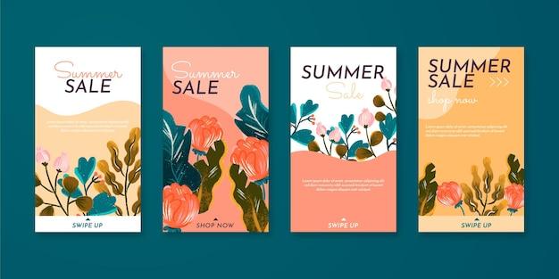 Colección de historias de instagram de verano con flores dibujadas a mano