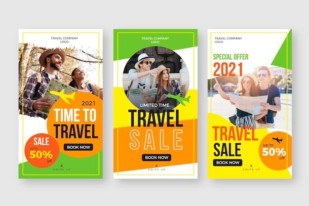 Colección de historias de instagram de viajes de diseño plano