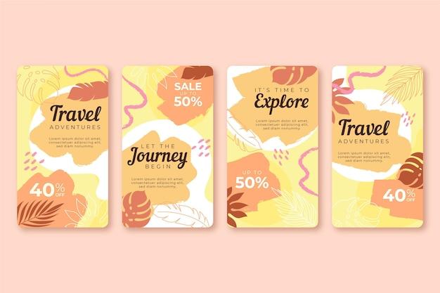 Colección de historias de instagram de viajes con pinceladas