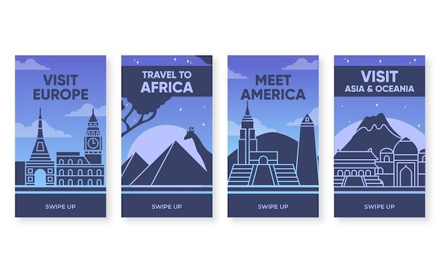Colección de historias de instagram de viajes planos