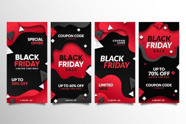 Colección de historias de instagram de viernes negro degradado