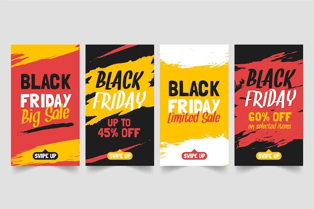 Colección de historias de instagram del viernes negro dibujadas a mano
