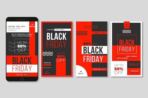 Colección de historias de instagram de viernes negro de diseño plano