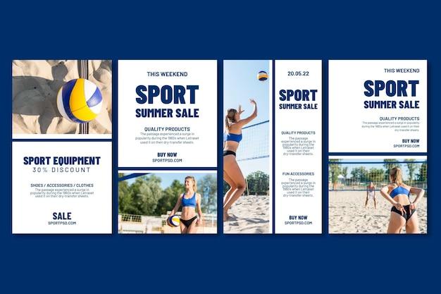 Colección de historias de instagram para voleibol de playa