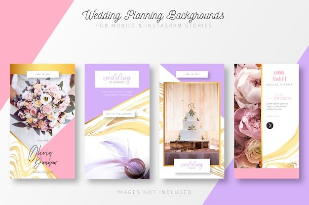 Colección de historias de planificación de bodas