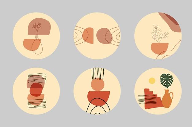Colección de historias de portada destacadas minimalistas contemporáneas