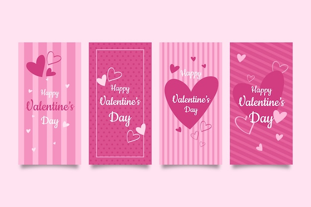 Colección de historias de rebajas del día de san valentín