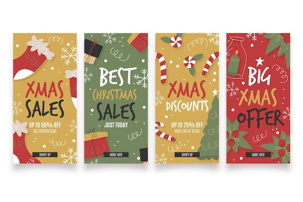 Colección de historias de rebajas navideñas
