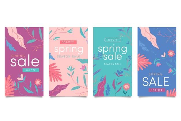 Colección de historias de rebajas de primavera