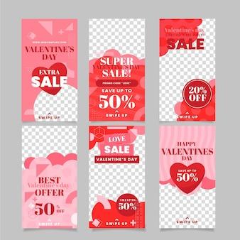 Colección de historias de rebajas de san valentín