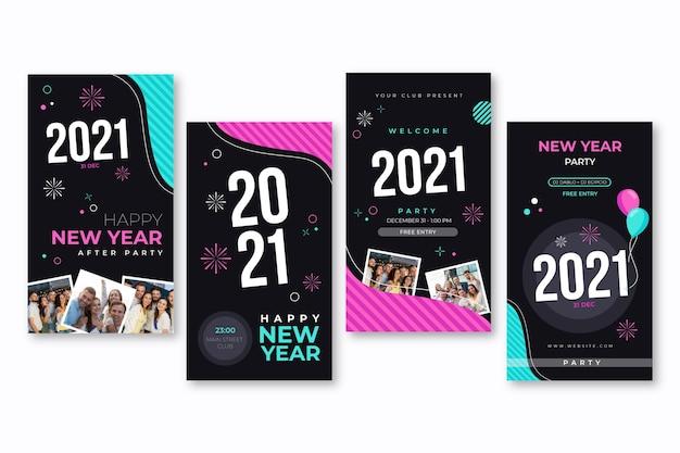 Colección de historias de redes sociales de año nuevo