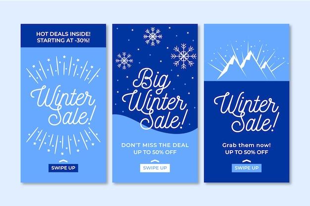 Colección de historias de redes sociales de rebajas de invierno