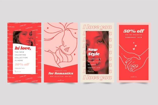 Colección de historias de redes sociales de venta de san valentín