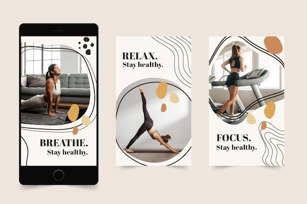 Colección de historias de salud y fitness dibujadas a mano