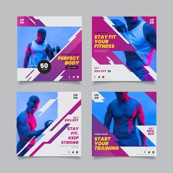 Colección de historias de salud y fitness en gradiente con foto