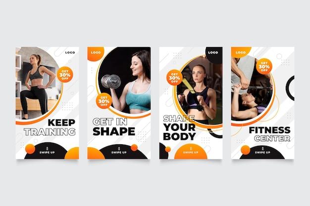 Colección de historias de salud y fitness en gradiente