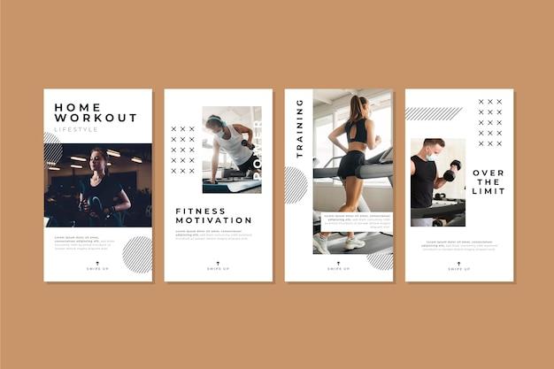 Colección de historias de salud y fitness planas con foto