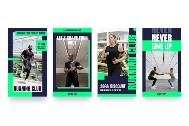 Colección de historias de salud y fitness planas