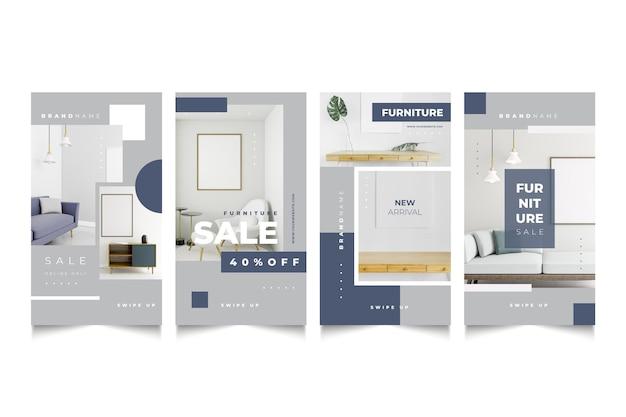 Colección de historias de venta de muebles con foto.