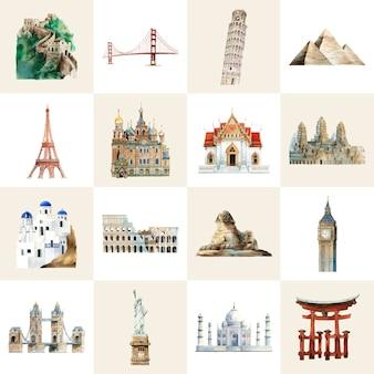 Colección de hitos arquitectónicos pintados de acuarela.