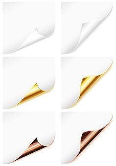 Colección hoja de papel en blanco con esquina curva