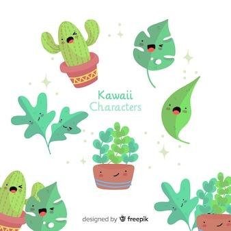 Colección hojas adorables dibujadas a mano