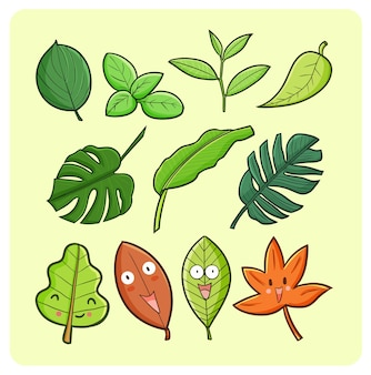 Colección de hojas divertidas y lindas en estilo kawaii doodle