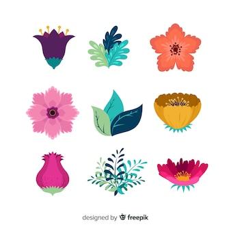 Colección de hojas y flores abstractas en diseño plano