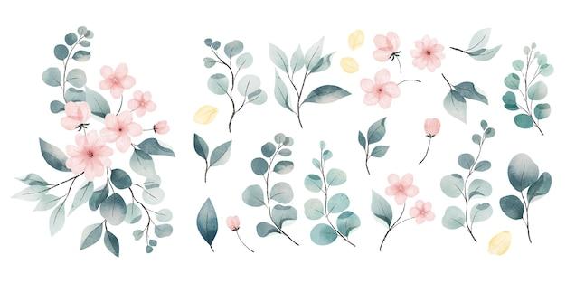 Colección de hojas y flores de acuarela