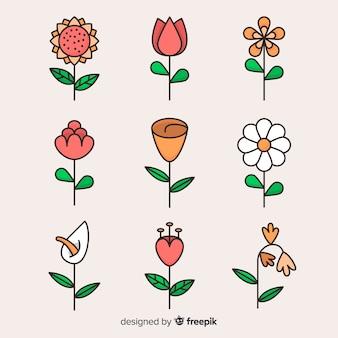 Colección de hojas y flores en diseño plano