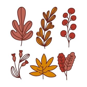 Colección de hojas de otoño dibujadas a mano