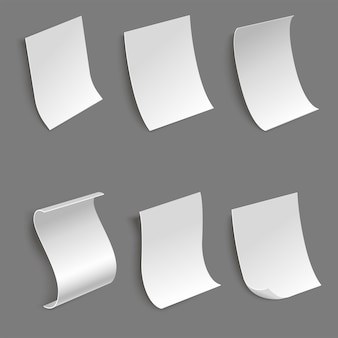 Colección de hojas de papel en diferentes vistas laterales