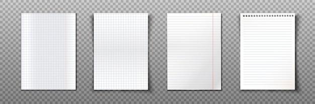 Colección de hojas de papel de formato a4.