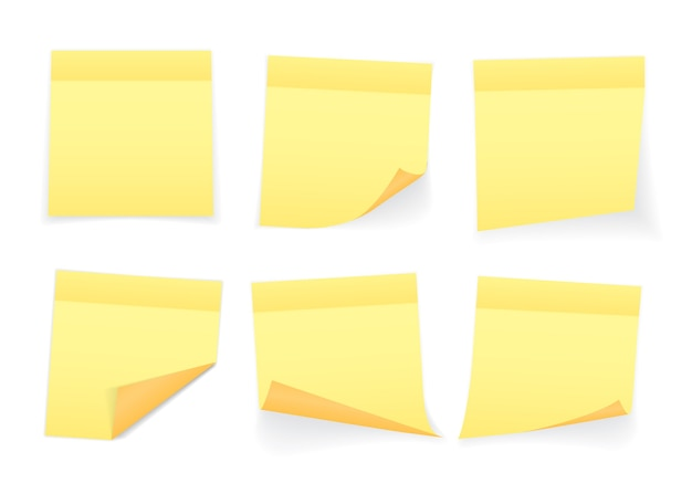 Colección de hojas de papel de notas de color amarillo con esquina rizada y sombra, listas para su mensaje.