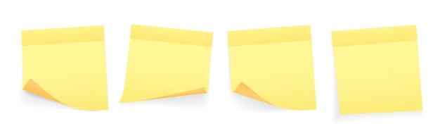 Colección de hojas de papel de notas de color amarillo con esquina rizada y sombra