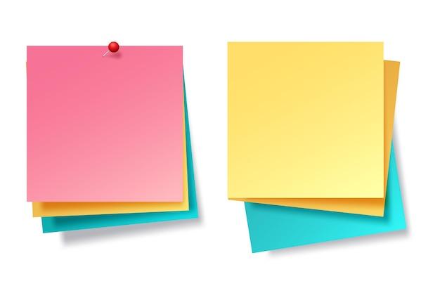 Colección de hojas de papel de notas de diferentes colores vector gratuito