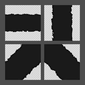 Colección de hojas de papel rasgado rasgado negro en blanco