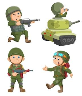La colección del hombre soldado con el disfraz y sosteniendo la pistola.