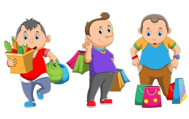 La colección del hombre sostiene la bolsa de papel después de comprar la ilustración.