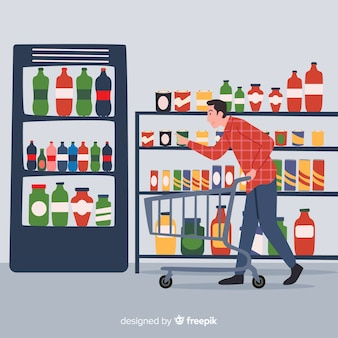 Colección hombre en el supermercado dibujado a mano