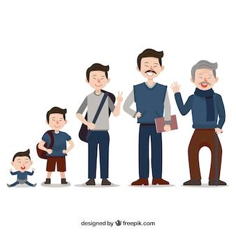 Colección de hombres asiáticos en edades diferentes